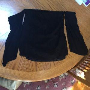 Tobi Black Strapless Cold  Shoulder Crop Top S